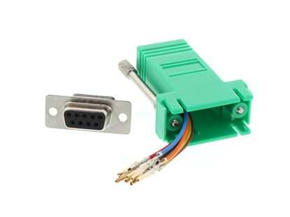 Picture of Modular Adapter Kit - DB9 Female to RJ45 - Green