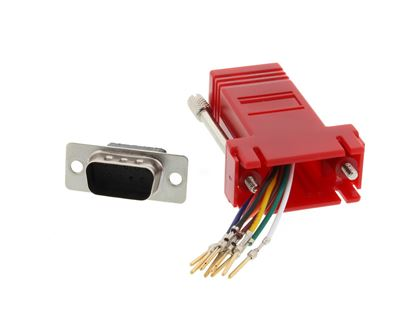 Picture of Modular Adapter Kit - DB9 Male to RJ45 - Red