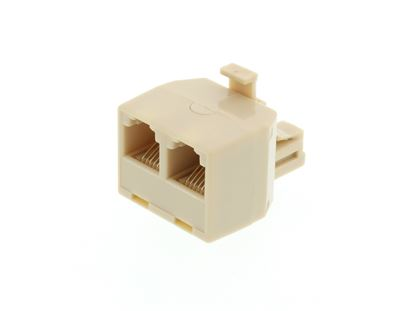 Picture of Modular Voice T Adapter - 1 Male to 2 Female (RJ11 - 6P6C for 6 Wire)