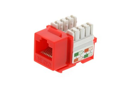 Picture of CAT5e Keystone Jack 90 Degree 110 UTP - Red