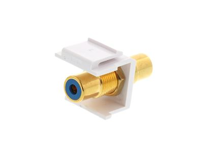Picture of Feed Through Keystone Jack - RCA (Component / Composite) - White - Color Coded Blue