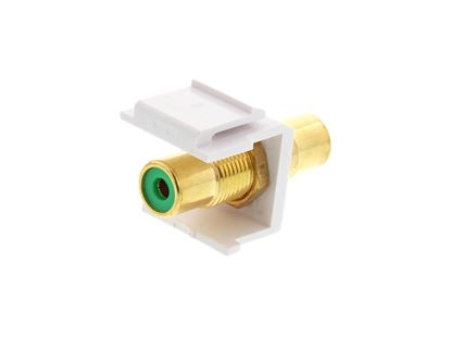 Picture of Feed Through Keystone Jack - RCA (Component / Composite) - White - Color Coded Green