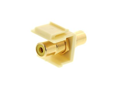 Picture of Feed Through Keystone Jack - RCA (Component / Composite) - Ivory - Color Coded Yellow