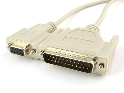 Picture of 6 FT Null Modem Cable - DB9 Female to DB25 Male