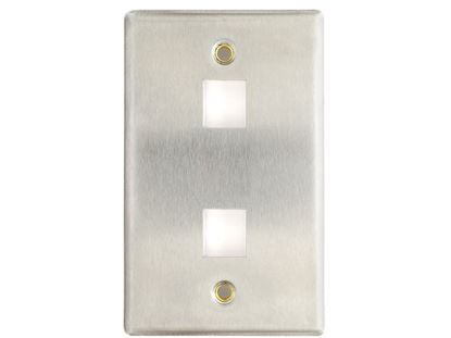 Picture of 2 Port Stainless Steel Keystone Faceplate