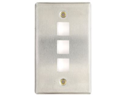 Picture of 3 Port Stainless Steel Keystone Faceplate