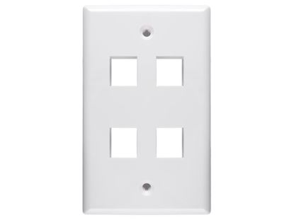 Picture of 4 Port Keystone Faceplate - Single Gang - White