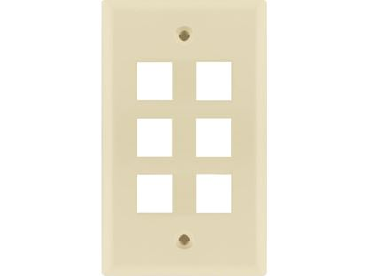 Picture of 6 Port Keystone Faceplate - Single Gang - Almond