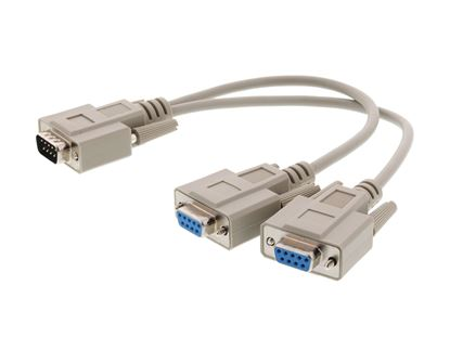 Picture of 1 FT Fully Loaded Serial Y Splitter Cable - DB9 Male to 2 DB9 Females