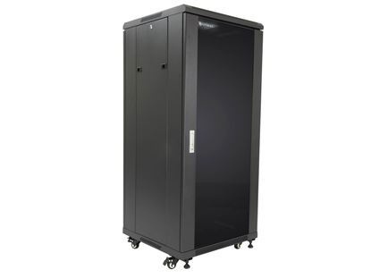 "Picture of Server Enclosure 27U 23""W x 23""D x 54""H, Tempered Glass Door, Removable Side Panels, Solid Rear Door, Knockdown"