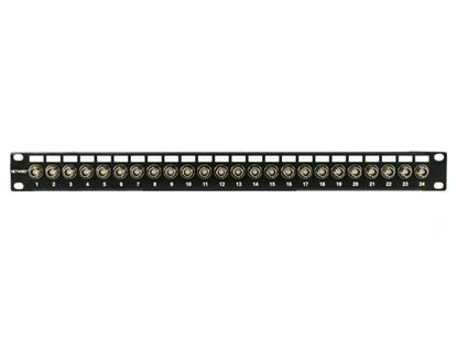 Picture of 24 Port Fully Loaded 75 Ohm BNC Coaxial Patch Panel - 1U