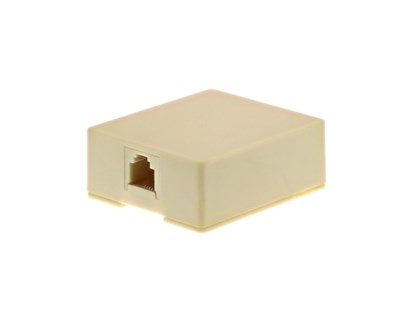 Picture of 4 Conductor RJ11 Ivory Surface Mount Box with Screw Terminals